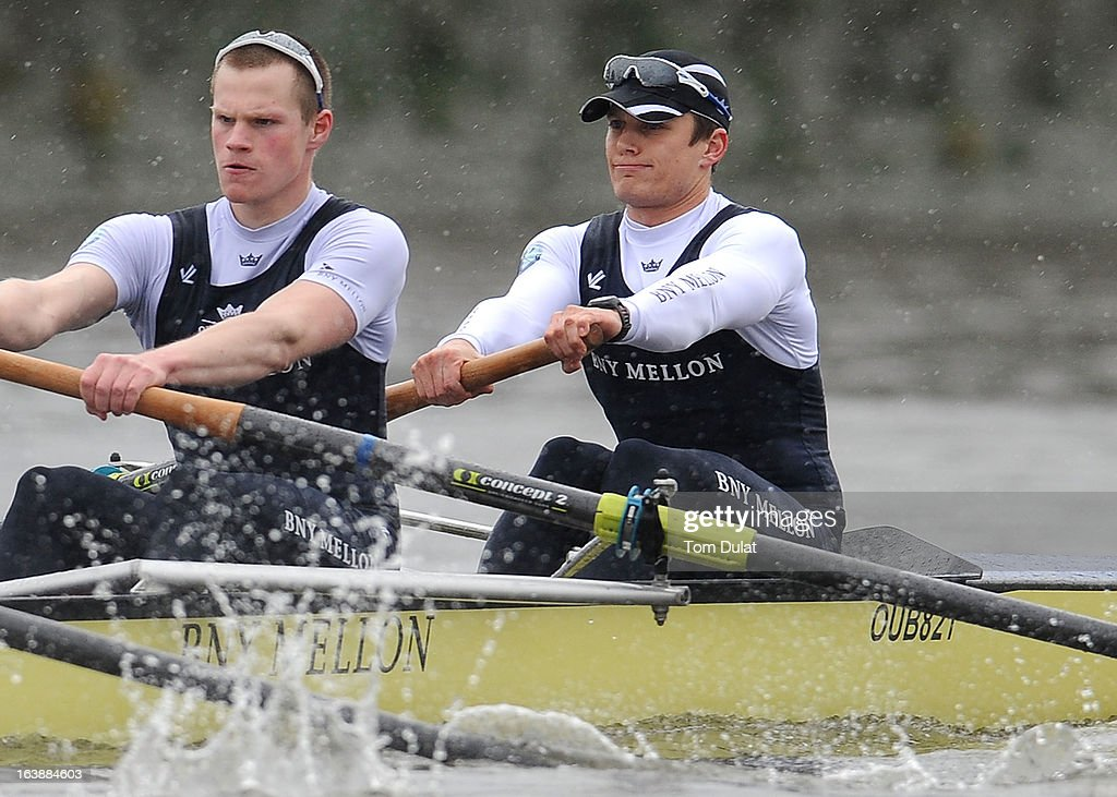 Geordie Macleod and Patrick Close (Bow) of The Oxford Blue Boat in action during the training race against German Eight on the River Thames on March 17, 2013 in London, England.