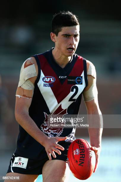 Geordie Nagle of Sandringham Dragons runs during the round eight TAC Cup match between Sandringham Dragons and the Greater Western Victoria Rebels at...