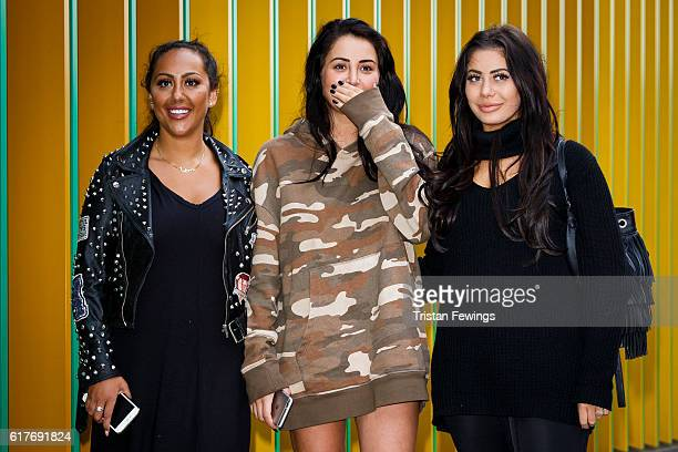 Geordie Shore cast members Sophie Kasaei Chloe Ferry and Marnie Simpson launch Series 13 at MTV London on October 24 2016 in London England