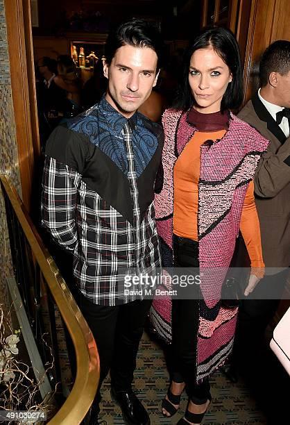 Geordon Nicol and Leigh Lezark attend the Roksanda Ten Year Anniversary Dinner at Caviar Kaspia on October 2 2015 in Paris France