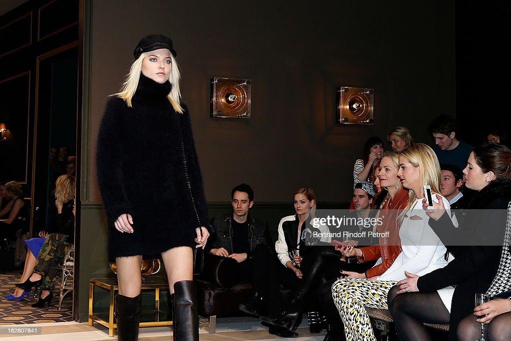 Geordon Nicol and Leigh Lezark Virginie CourtinClarins Jenna CourtinClarins and Prisca CourtinClarins look on as a model walks the runway during the...