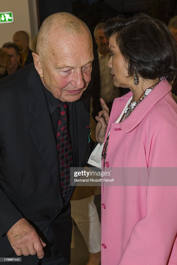 Georg Baselitz (L) and Bianca Jagger attend the Georg Baselitz exhibition preview and dinner at Thaddeus Ropac Gallery on September 7, 2013 in Pantin, east of Paris, France. The exhibition opens on September 8.