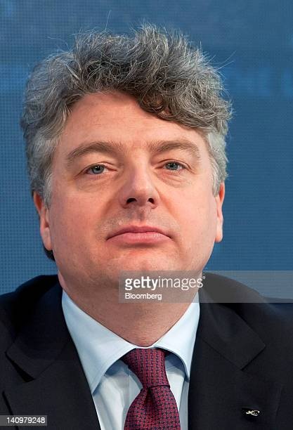 Georg Denoke chief financial officer of Linde AG pauses during the company's results news conference in Munich Germany on Friday March 9 2012 Linde...