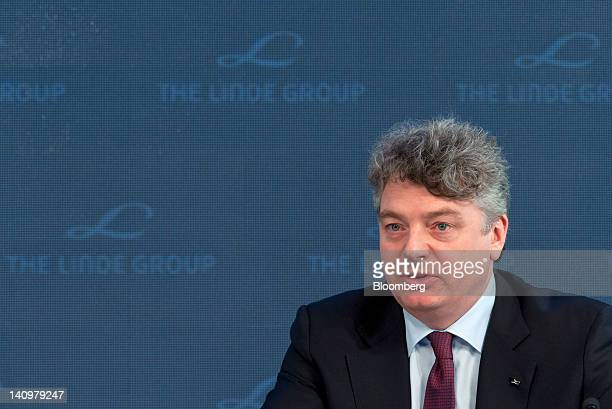 Georg Denoke chief financial officer of Linde AG speaks during the company's results news conference in Munich Germany on Friday March 9 2012 Linde...