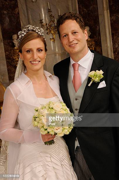 Georg Friedrich Ferdinand Prince of Prussia and Princess Sophie of Prussia pose for a family picture after their religious wedding ceremony in the...