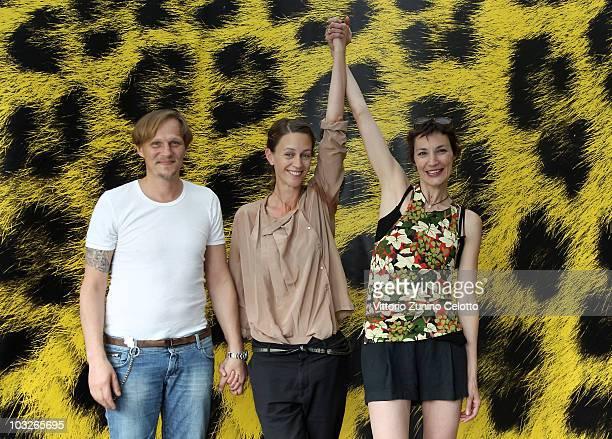 Georg Friedrich Pia Marais Jeanne Balibar attend 'Im After von Ellen ' photocall during the 63rd Locarno Film Festival on August 6 2010 in Locarno...