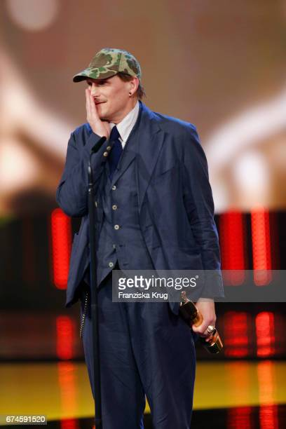 Georg Friedrich receives the Award for Best Supporting Actor for his role in the film Wild at the Lola German Film Award show at Messe Berlin on...