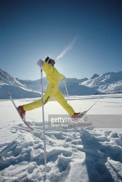 Georg Furmeier of Germany competes in the Men's ski ballet competition on 20 December 1987 at the FIS Freestyle Skiing World Cup at La...