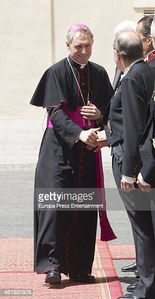 Georg Ganswein receives King Felipe VI of Spain and Queen Letizia of Spain in their arrival at private audience with Pope Francis on June 30 2014 in...