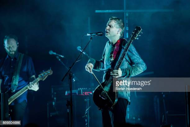 Georg Holm and Jon Por Birgisson of Icelandic band Sigur Ros perform live on stage during a concert at Tempodrom on October 9 2017 in Berlin Germany
