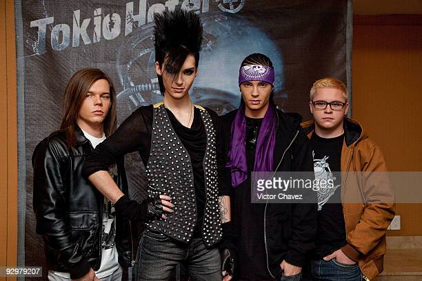 Georg Listing Bill Kaulitz Tom Kaulitz and Gustav Schafer of Tokyo Hotel attends the Tokyo Hotel's 'Humanoid' album launch press conference and...