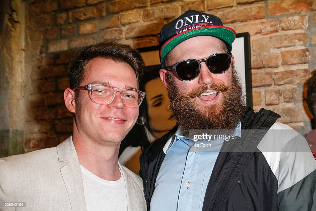 Georg Listing, pianist of the band Tokio Hotel and Rapper MC Fitti during the photo art exhibition and book launch of BILLY at Seven Star Gallery on May 4, 2016 in Berlin, Germany.
