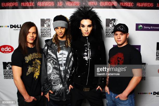 ACCESS*** Georg Listing Tom Kaulitz Bill Kaulitz and Gustav Schafer of Tokio Hotel pose in the Winners Room at the 2008 MTV Europe Music Awards held...