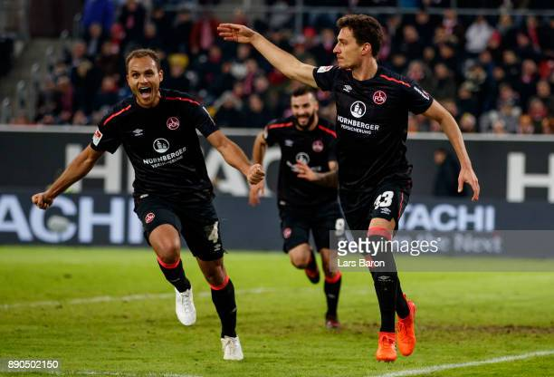 Georg Margreitter of Nuernberg celebrates after scoring his teams second goal during the Second Bundesliga match between Fortuna Duesseldorf and 1 FC...