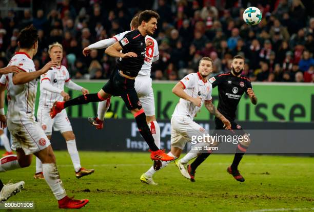Georg Margreitter of Nuernberg scores his teams second goal during the Second Bundesliga match between Fortuna Duesseldorf and 1 FC Nuernberg at...