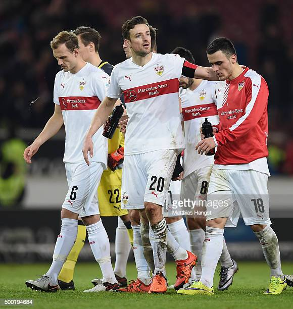Georg Niedermeier Christian Gentner and Filip Kostic of Stuttgart show their disappointment after the Bundesliga match between VfB Stuttgart and...