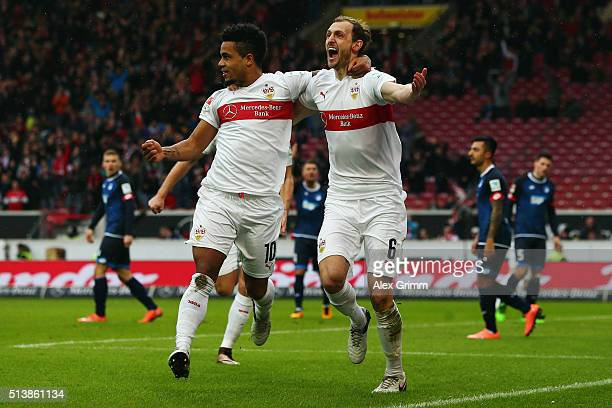 Georg Niedermeier of Stuttgart celebrates his team's first goal with team mate Daniel Didavi during the Bundesliga match between VfB Stuttgart and...