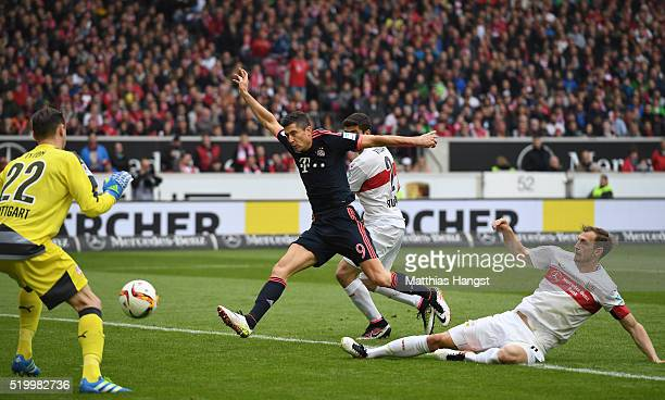Georg Niedermeier of Stuttgart scores a own goal for FC Bayern during the Bundesliga match between VfB Stuttgart and FC Bayern Muenchen at...
