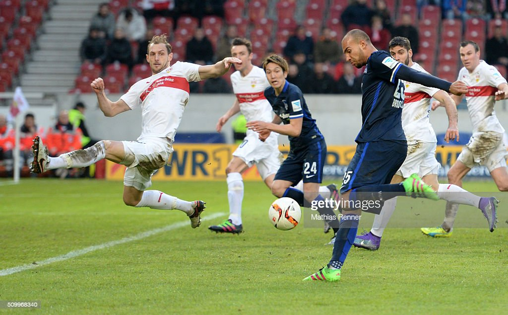 <a gi-track='captionPersonalityLinkClicked' href=/galleries/search?phrase=Georg+Niedermeier&family=editorial&specificpeople=5543183 ng-click='$event.stopPropagation()'>Georg Niedermeier</a> of VfB Stuttgart and John Anthony Brooks of Hertha BSC during the game between VfB Stuttgart and Hertha BSC on February 13, 2016 in Stuttgart, Germany.