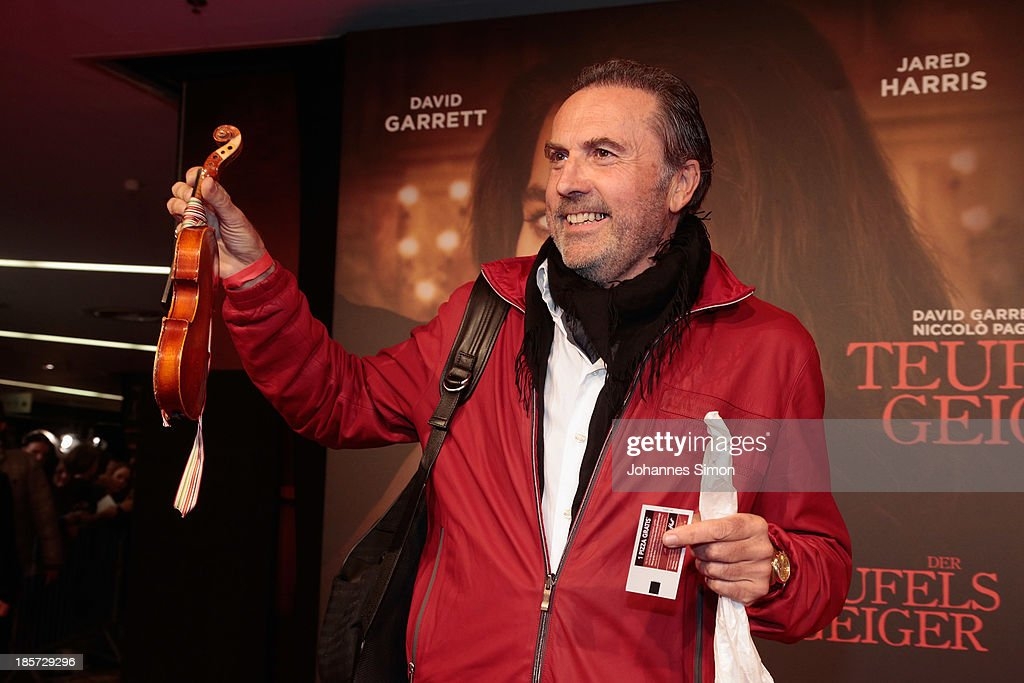 Georg P. Bongartz, father of David Garrett shows his son's first fiddle ever, ahead of the 'Der Teufelsgeiger' Premiere on October 24, 2013 in Munich, Germany.