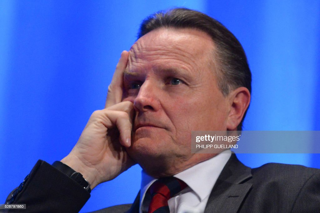 Georg Pazderski, head of the AfD Berlin attends a party congress of the German right wing party AfD (Alternative fuer Deutschland) at the Stuttgart Congress Centre ICS on May 1, 2016 in Stuttgart, southern Germany. / AFP / Philipp GUELLAND