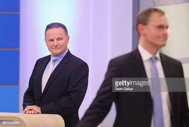 Georg Pazderski lead candidate of the rightwing populist Alternative fuer Deutschland political party eyes Michael Mueller mayor of Berlin and German...