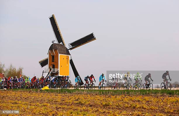 Georg Preidler of Austria and Team GiantAlpecin leads the peloton during the 50th edition of the Amstel Gold Race on April 19 2015 in Maastricht...