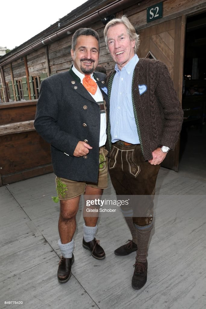 Georg 'Schorsch' Hackl and Prince Leopold 'Poldi' von Bayern during the 'BMW Wies'n Sport-Stammtisch' as part of the Oktoberfest at Theresienwiese on September 19, 2017 in Munich, Germany.