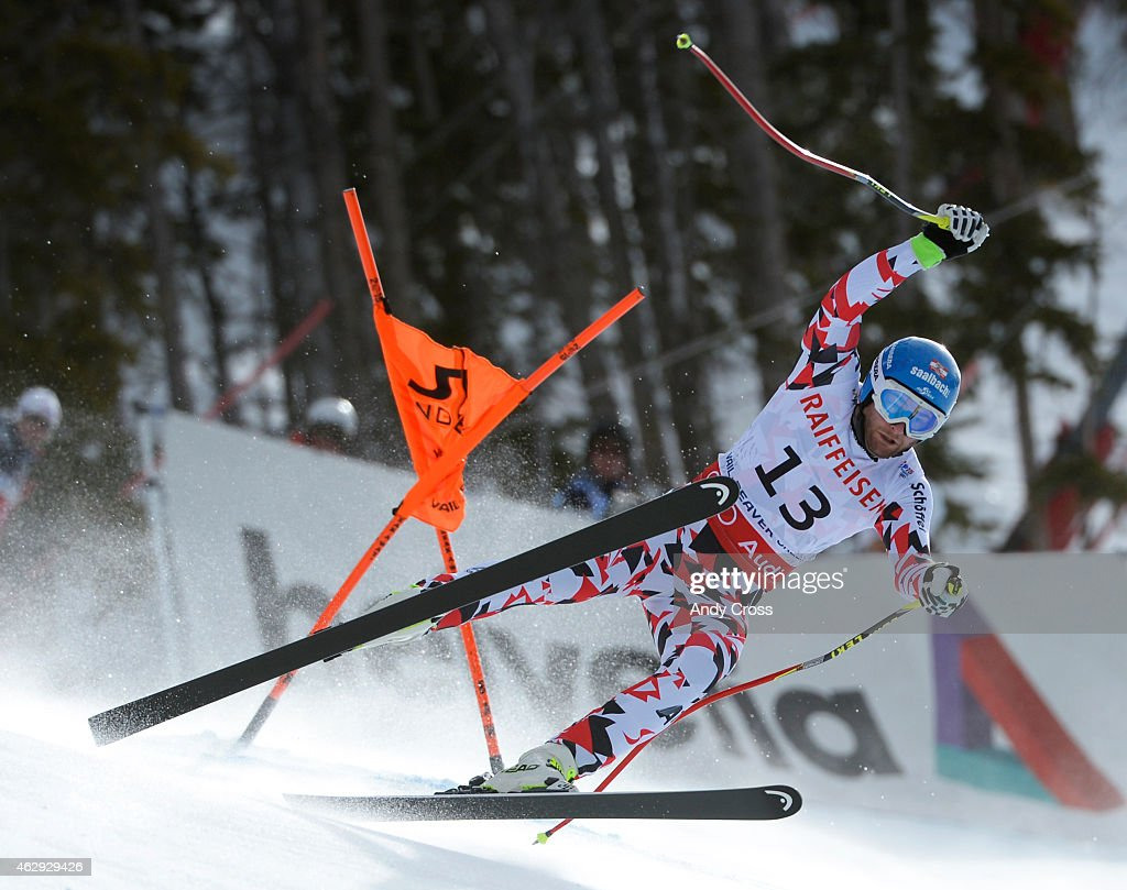 Georg Streitberger Austria gets sideways after clipping a gate during the downhill race at the FIS Alpine World Ski Championships at Beaver Creek...