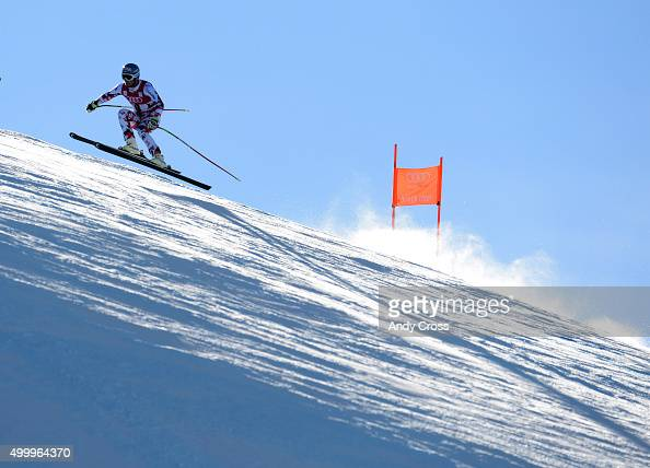 Georg Streitberger Austria heads down into Pete's Arena portion of the course during the 2015 Audi Birds of Prey Men's World Cup downhill at Beaver...