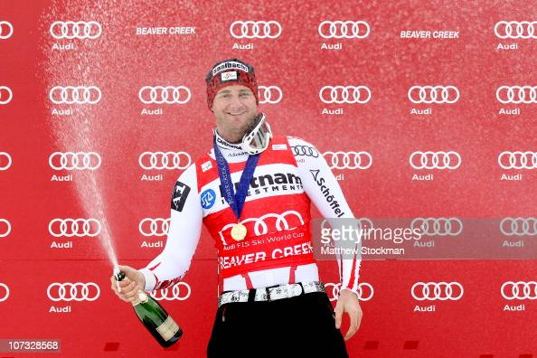 Georg Streitberger of Austria celebrates on the medals podium after winning the SuperG during the Audi FIS World Cup on the Birds of Prey on December...