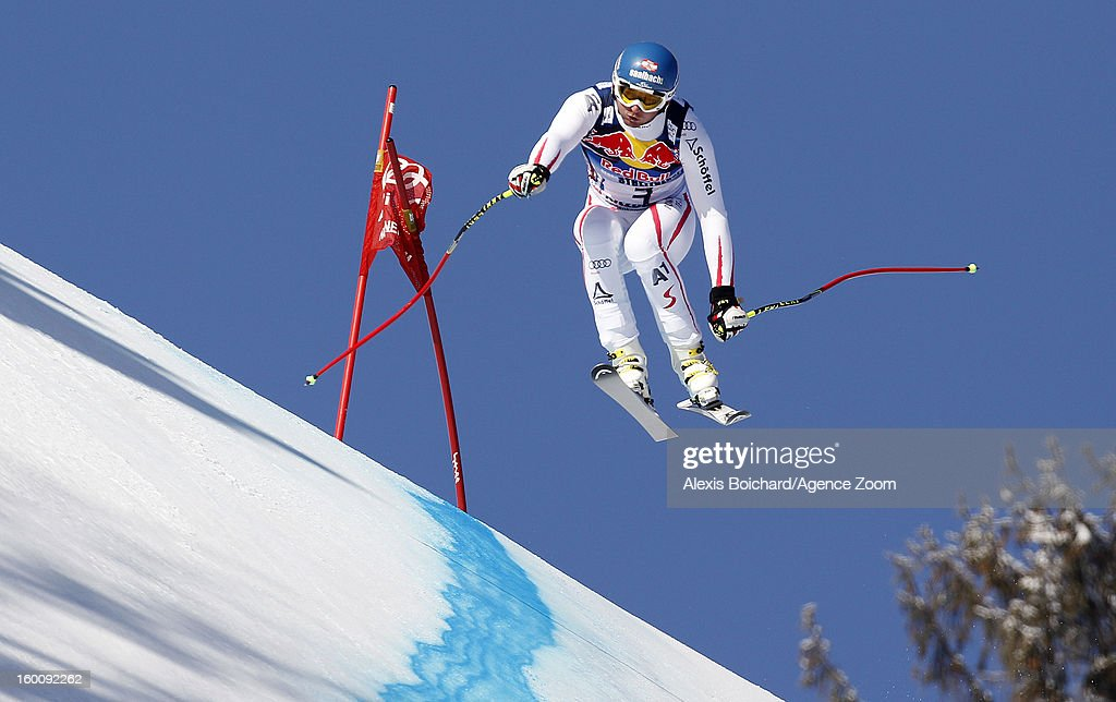 Georg Streitberger of Austria competes during the Audi FIS Alpine Ski World Cup Men's Downhill on January 26, 2013 in Kitzbuehel, Austria.