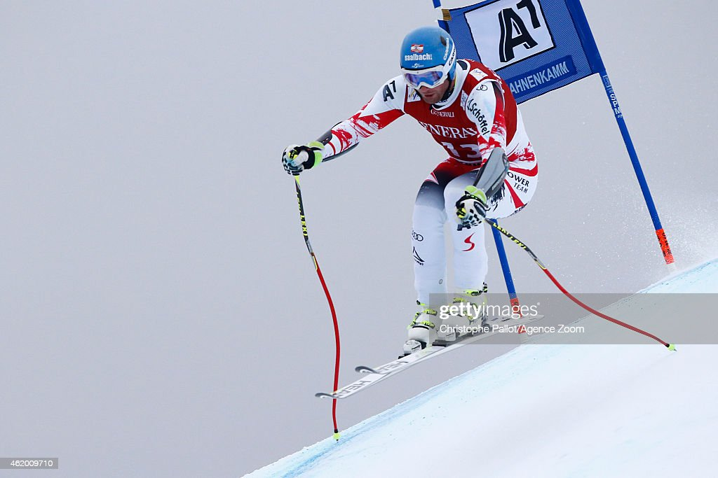 Georg Streitberger of Austria competes during the Audi FIS Alpine Ski World Cup Men's SuperG on January 23 2015 in Kitzbuehel Austria
