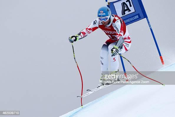 Georg Streitberger of Austria competes during the Audi FIS Alpine Ski World Cup Men's SuperG on January 23 2015 in Kitzbuehel Austria