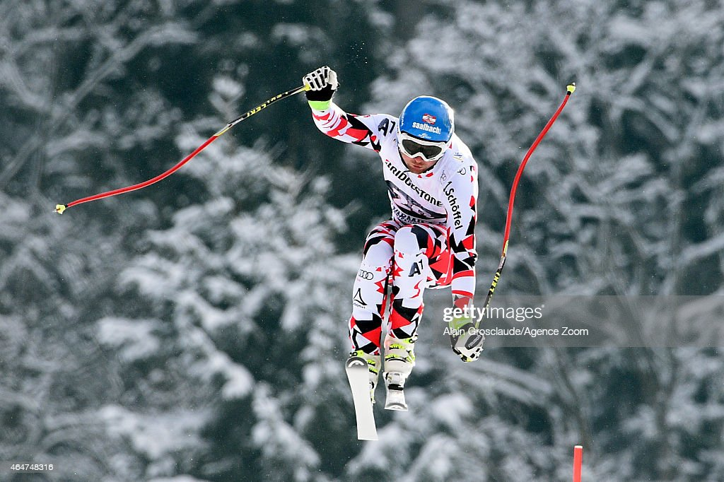Georg Streitberger of Austria competes during the Audi FIS Alpine Ski World Cup Men's Downhill on February 28 2015 in GarmischPartenkirchen Germany