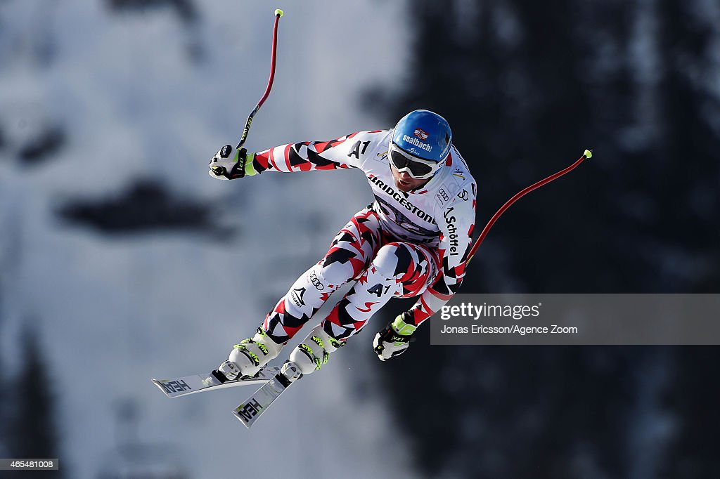 Georg Streitberger of Austria competes during the Audi FIS Alpine Ski World Cup Men's Downhill on March 07 2015 in Kvitfjell Norway