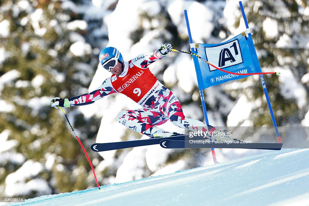 Georg Streitberger of Austria competes during the Audi FIS Alpine Ski World Cup Men's SuperG on January 22 2016 in Kitzbuehel Austria