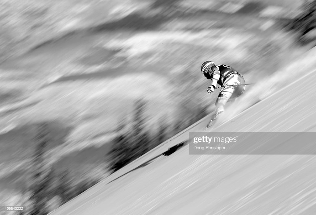Georg Streitberger of Austria descends the course during men's downhill training for the Audi FIS World Cup on the Birds of Prey on December 2 2014...