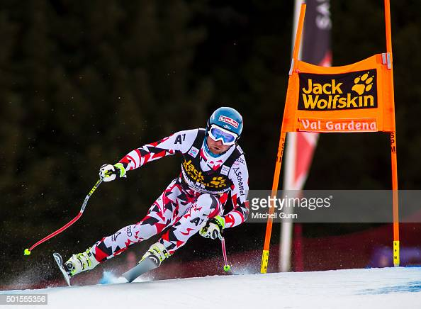 Georg Streitberger of Austria during the training run for the Audi FIS Alpine Ski World Cup Downhill race on December 16 2015 in Val Gardena Italy