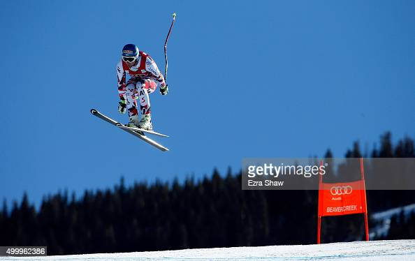 Georg Streitberger of Austria goes over the Red Tail jump during the Audi FIS Ski World Cup downhill race on the Birds of Prey on December 4 2015 in...