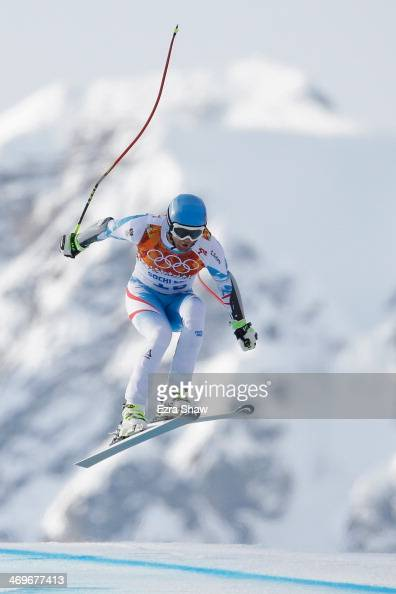 Georg Streitberger of Austria in action during the Alpine Skiing Men's SuperG on day 9 of the Sochi 2014 Winter Olympics at Rosa Khutor Alpine Center...