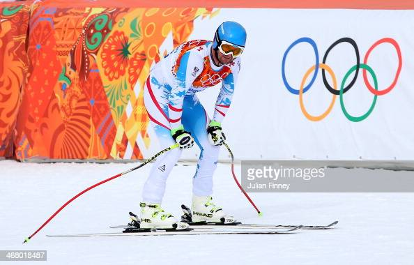 Georg Streitberger of Austria looks on after his run during the Alpine Men's Downhill on day two of the Sochi 2014 Winter Olympics at Rosa Khutor...