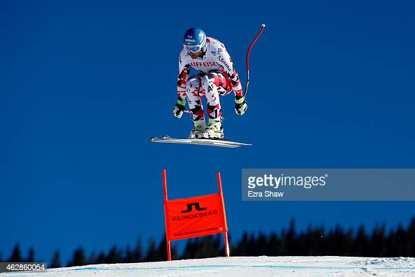Georg Streitberger of Austria practices during Men's Downhill training on the Birds of Prey racecourse on Day 5 of the 2015 FIS Alpine World Ski...