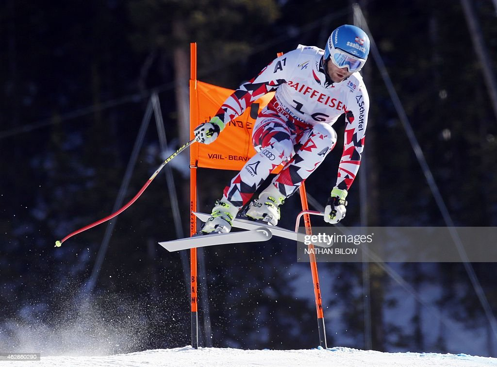 Georg Streitberger of Austria races down the course during the 2015 World Alpine Ski Championships men's downhill training run February 6 2015 in...