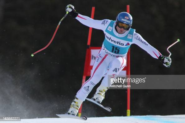 Georg Streitberger of Austria races down the hill while competing in the Audi FIS Alpine Skiing World Cup Finals downhill training on March 12 2013...