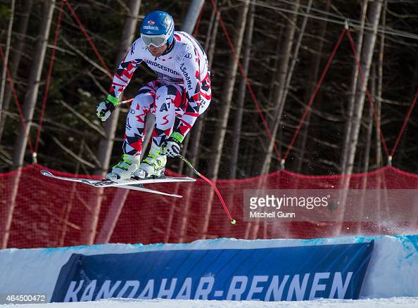 Georg Streitberger of Austria races down the Kandahar course during the Audi FIS Alpine Ski World Cup Downhill training on February 26 2015 in...