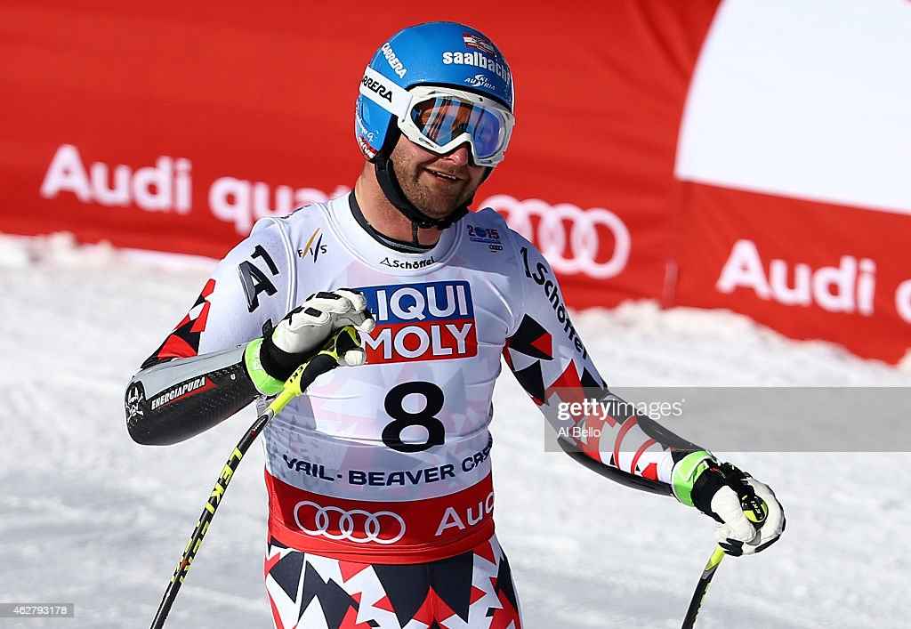 Georg Streitberger of Austria reacts after crossing the finish of the Men's SuperG in Red Tail Stadium on Day 4 of the 2015 FIS Alpine World Ski...