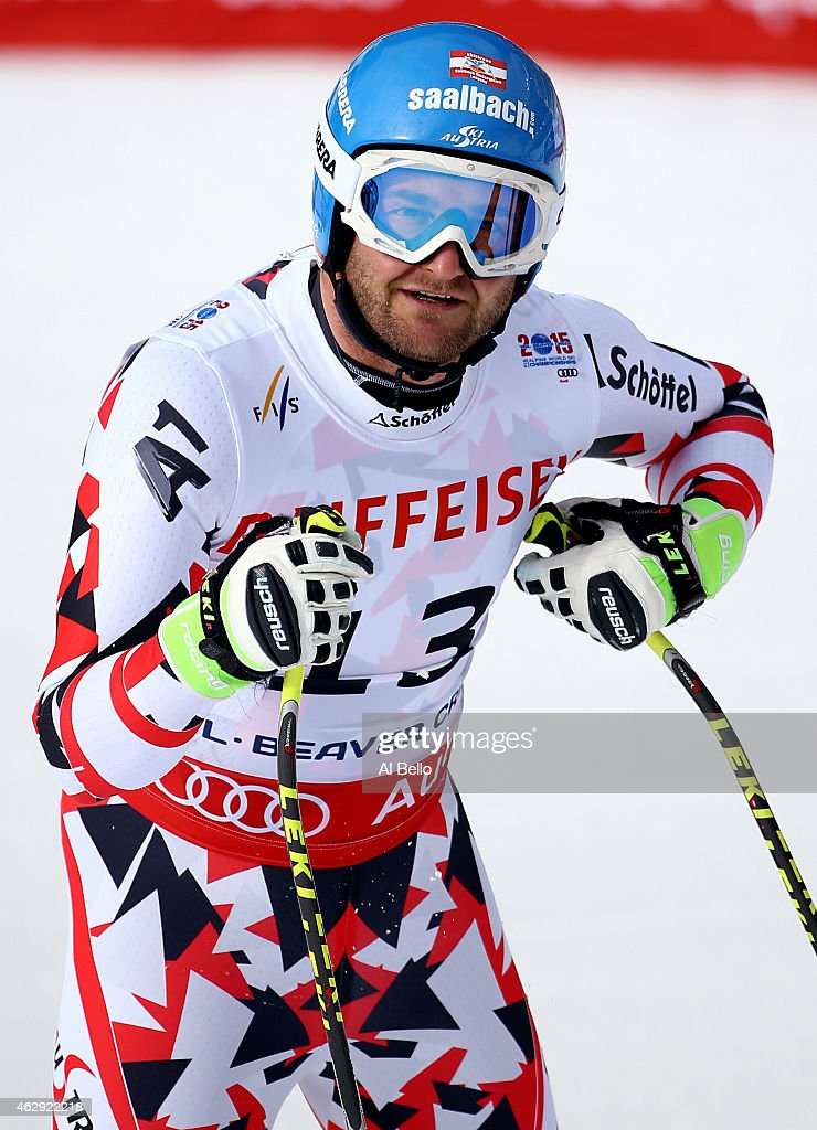 Georg Streitberger of Austria reacts after crossing the finish of the Men's Downhill in Red Tail Stadium on Day 6 of the 2015 FIS Alpine World Ski...