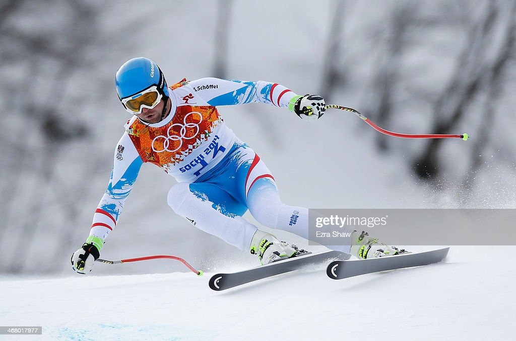 Georg Streitberger of Austria skis during the Alpine Men's Downhill on day two of the Sochi 2014 Winter Olympics at Rosa Khutor Alpine Center on...