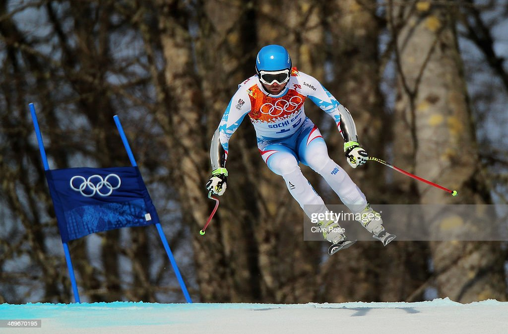 Georg Streitberger of Austria skis during the Alpine Skiing Men's SuperG on day 9 of the Sochi 2014 Winter Olympics at Rosa Khutor Alpine Center on...